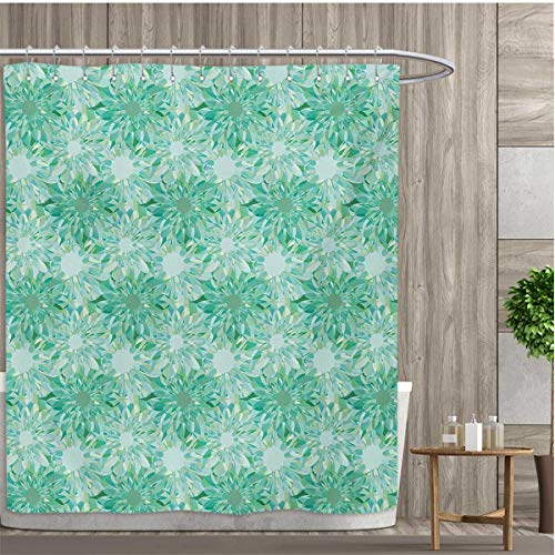 smallfly Turquoise Bathroom Decor Set with Hooks Floral Pattern with Beryl Crystal Guilloche Flowers Carving Art Elements Image Print Shower Curtains Fabric 48