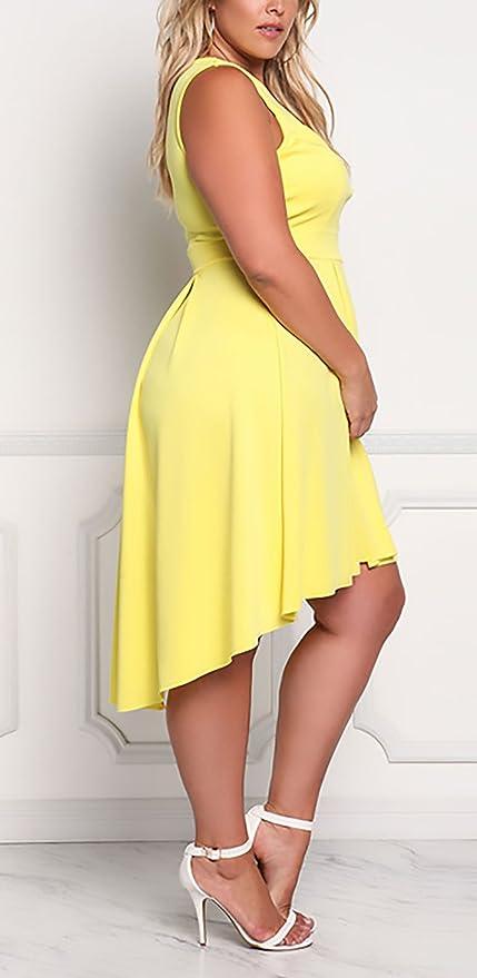 HX fashion Vestidos De Fiesta Mujer Para Gorda Moda Irregular Asimétrica Vestidos Basic Ropa Coctel Elegantes Sin Mangas V Cuello Plisado Vestido De Noche ...