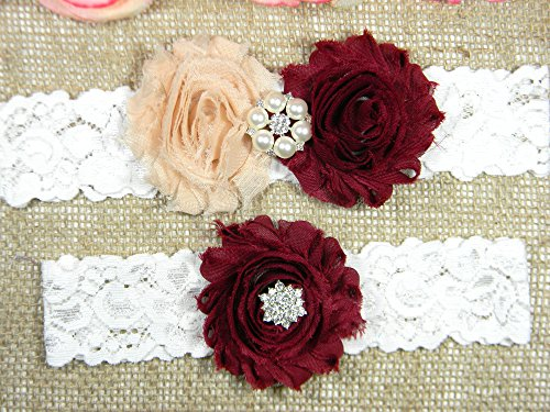 Champagne and Maroon Garter, Wedding Garter Set, Bridal Garter Belt, Keepsake and Toss Stretch Lace Garters by PCB Studio