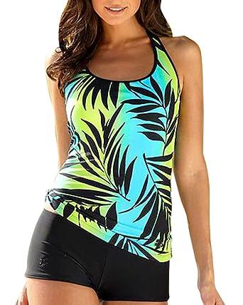 2890963b47 Tankini Femme Deux Pieces Imprimé Maillot De Bain Shorty Sport Grande Taille  Haute Cintrée: Amazon.fr: Vêtements et accessoires