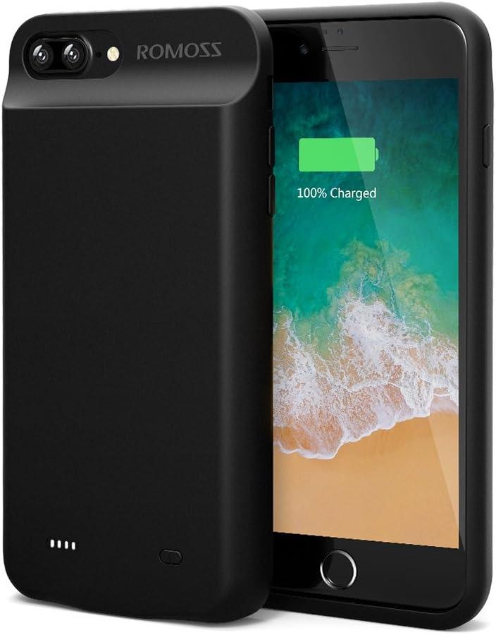 ROMOSS iPhone 7 Plus Battery Case, High Capacity Extended Battery Case for iPhone 7 Plus (5.5 inch) with 8000mAh Capacity/180% Extra Battery (Black)