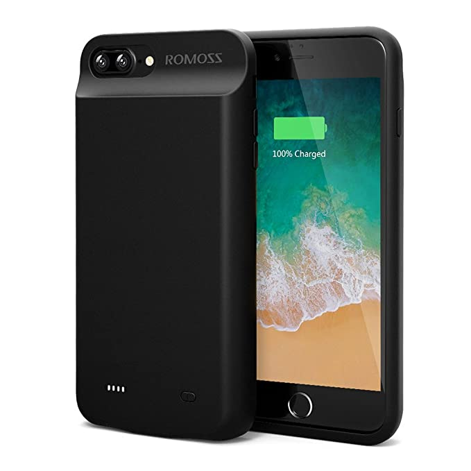 huge discount 6c931 5440e iPhone 7 Plus Battery Case, ROMOSS High Capacity Extended Battery Case for  iPhone 7 Plus (5.5 inch) with 8000mAh Capacity/180% Extra Battery (Black)