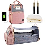 Happy Luoka 3 in 1 Diaper Bag Backpack with Changing Station, Mummy Travel Bag with USB Charging Port Mauve