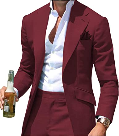 Fitty Lell Men S Two Piece Suit One Button Blazer Formal Groom Suits For Men Wedding Party Dress At Amazon Men S Clothing Store