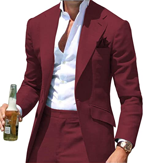 Fitty Lell Mens Two Piece Suit One Button Blazer Formal ...