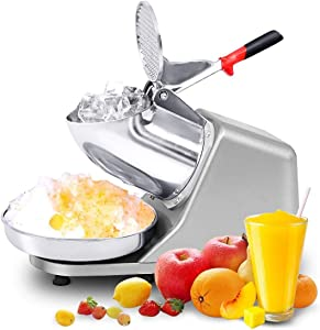 WUAZ 250W Ice Crusher, Electric Ice Shaver Machine, Stainless Steel Snow Cone Maker for Ice Cream, Cold Drinks, Fruit Dessert and Cocktail, 65Kg/Hour