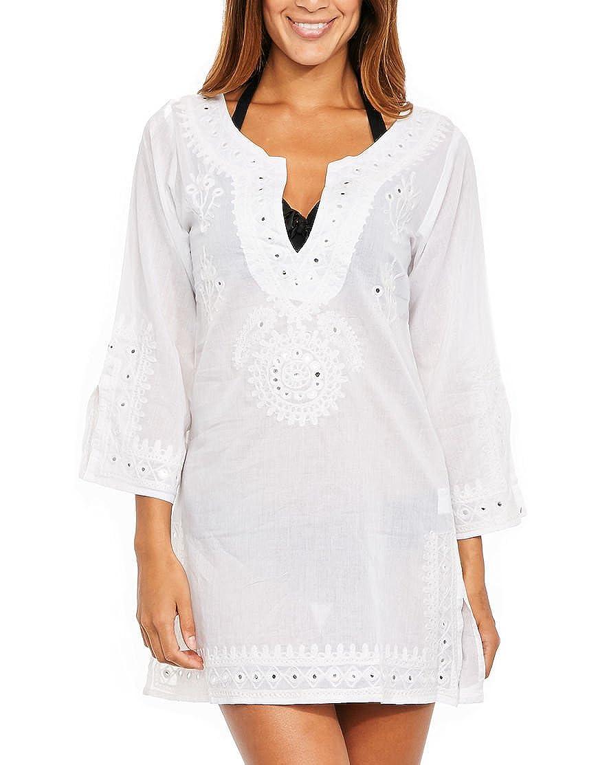 Vestido de playa, cuyos trajes de baño Brodee Zulú Blanco: Amazon ...