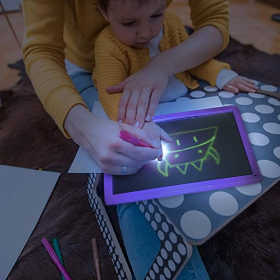 Draw with Light in Dark Glow LED Doodstage Light Drawing Fun and Developing Toy Child Sketchpad Funny Toys Gift Luminous Drawing Board Set A4 210mm x 300mm