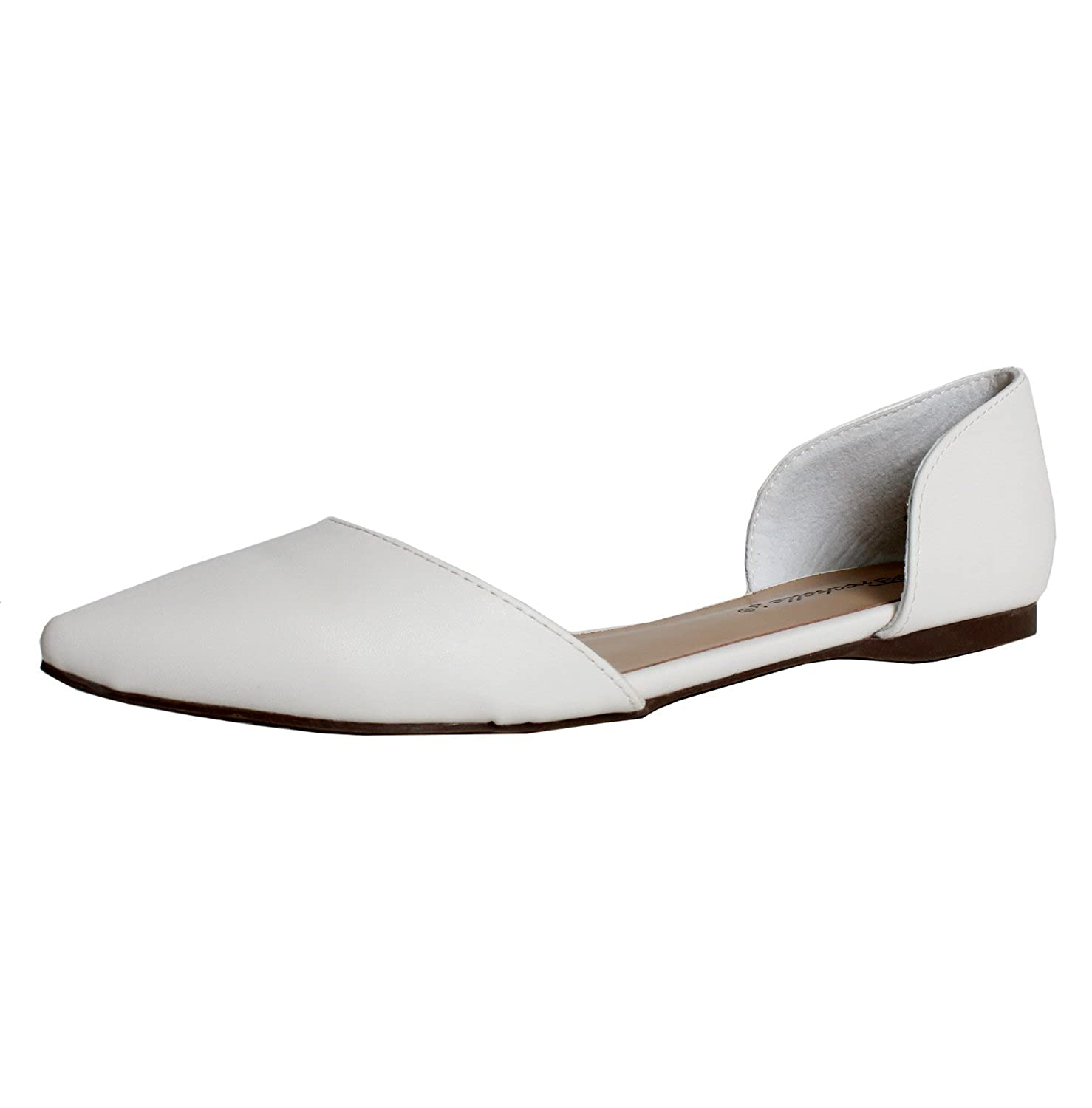 Breckelles Dolley-42 Ballet-Flats, White Pu, 7