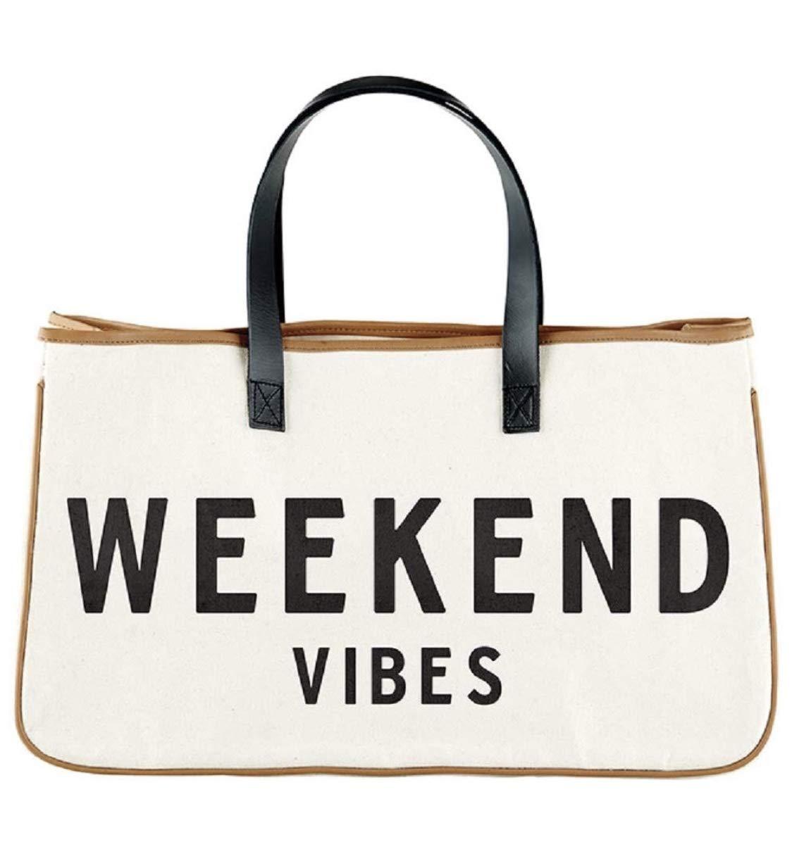 Weekend Vibes Canvas Tote Bag, Beach Bag, Beach Tote, Carry Bag by Santa Barbara Design Studio (Weekend Vibes Black and White) by Santa Barbara Designs
