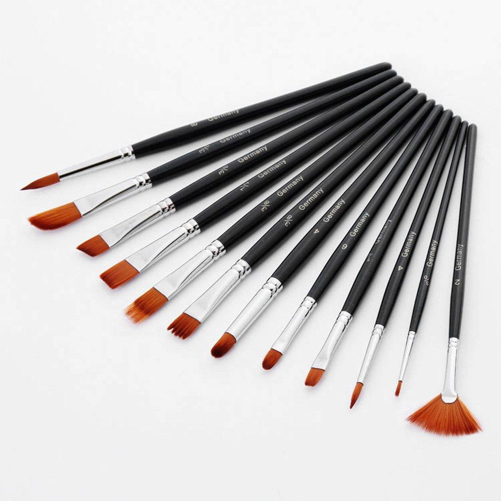 Bobury 12pcs Juego de pincel de pintura de pelo corto de nylon de la manija para la pintura al ó leo de acrí lico de la acuarela