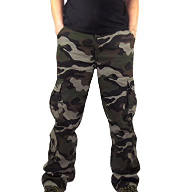 7e378563cf1b31 Men's Trouser, Shybuy Mne's Military Cargo Pants Cotton Loose Fit Camo  Outdoor 8 Pockets Combat