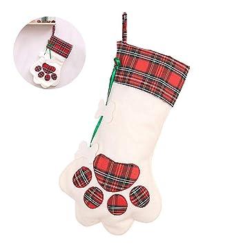 KOBWA - Bolsa de Dulces para Calcetines navideños, diseño de Huellas de Oso, 45,72 cm de Largo, árbol de Navidad para Colgar, decoración de Regalo: ...