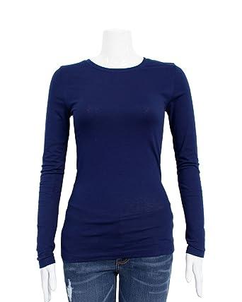 97c3c480fed2 FineBrandShop Navy Blue Ladies Crew Neck Long Sleeve T-Shirt  Amazon.co.uk   Clothing