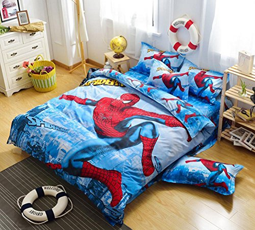 CZL Spiderman 3D Bedding Set Kids Bedroom Duvet Cover Set 4pcs