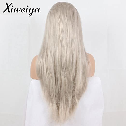 Amazon.com : long hair Silver Platinum Blonde Lace Front Lace Wigs ...