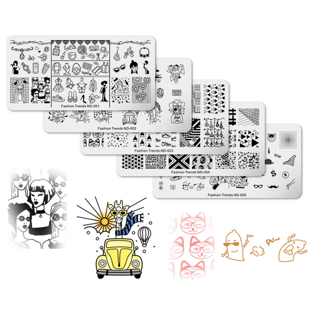 NICOLE DIARY Nail Stamping Plates Kit Christmas Series Rectangle Nail Stamp Image Templates Nail Art Transfer Plate DIY Manicure Nail Art Tools 5 Pcs