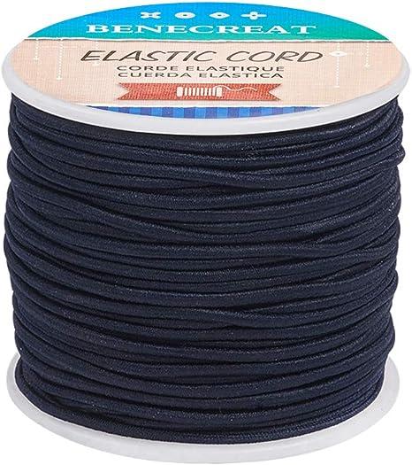 Imagen deBENECREAT 50m 2mm Cordón Elástico Hilo de Nylon de Rebordear Tela Hilo para Cuentas Pelo y Manualidad Azul de Prusia