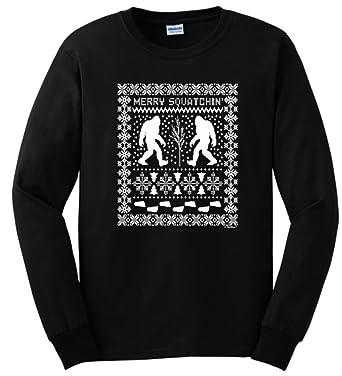 Amazon.com: Ugly Christmas Sweater Sasquatch Long Sleeve T-Shirt ...