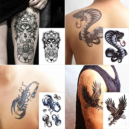 Eagle Temporary Tattoo (COKOHAPPY 4 Sheets Cobra Snake Eagle Bird Hawk Wing Eye Totem Scorpion Look Real Flash Temporary Tattoo)