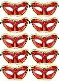 10pcs Set Mardi Gras Half Masquerades Venetian Masks Costumes Party Accessory (red-10pc)