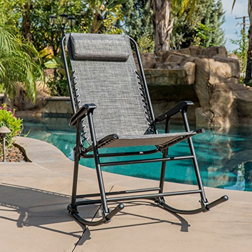 Belleze Bungee Suspension Zero Gravity Chair Folding Rocking Chair Pillow Outdoor Foldable, Dark Grey