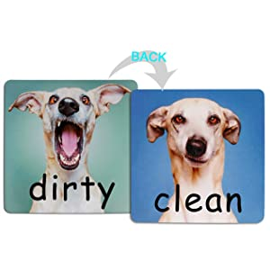"4.7"" x4.7"" Double Sided Clean Dirty Dishwasher Magnet, Reversible Flexible Flip Sign, Waterproof UV Coating, Fun Doggy Pattern Design,Kitchen Addition Premium Flip Sign Indicator (Dog)"