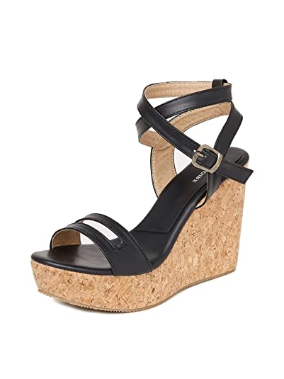 MarcLoire Women Wedge Heels, Girls Fashion Sandals, Open Toe Wedge Sandals, Buckle Type Heels - Synthetic, Black Fashion Sandals at amazon