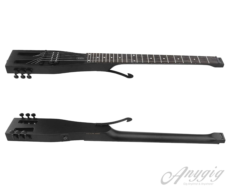 Anygig AGESE Guitarra eléctrica Tipo U de Arce Duro para Viajero de Mano Izquierda, Color Negro Mate, para Cualquier Momento y Lugar: Amazon.es: Hogar