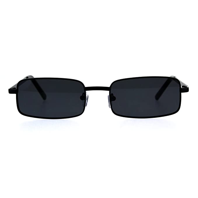 Mens Retro Vintage Narrow Rectangular Pimp Metal Sunglasses