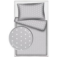 Kinderbettwäsche Stars 2-tlg. 100% Baumwolle 40x60 + 100x135 cm mit Reißverschluss