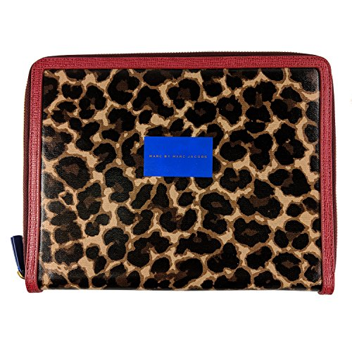 Marc Jacobs Coated Canvas Tablet Book Case Chickory Brown Multi