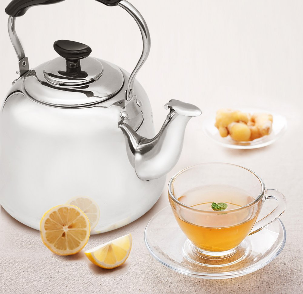 Tea Kettle Stovetop Teapot Stainless Steel Hot Water Kettle Whistling - Mirror Finsh,Folding Handle