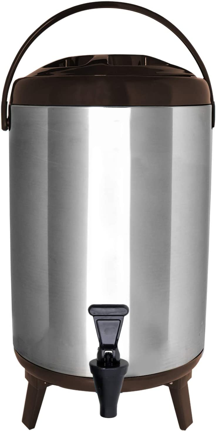 8 Liter Drink Dispenser with Spigot for Hot Tea /& Coffee Insulated Thermal Hot and Cold Beverage Dispenser Juice /& More BROWN Cold Milk Water Vollum Stainles Steel Insulated Beverage Dispenser