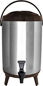 Vollum Stainles Steel Insulated Beverage Dispenser – Insulated Thermal Hot and Cold Beverage Dispenser – 12 Liter Drink Dispenser with Spigot for Hot Tea & Coffee, Cold Milk, Water, Juice & More BROWN