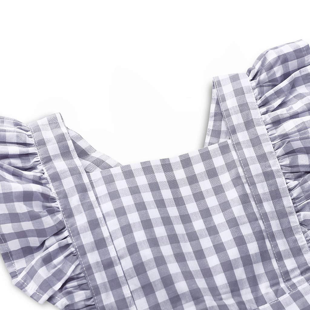Gonxifacai Infant Kids Baby Girls Ruffles Sleeveless Plaid Romper Princess Jumpsuits Clothes Gray,18-24 Months