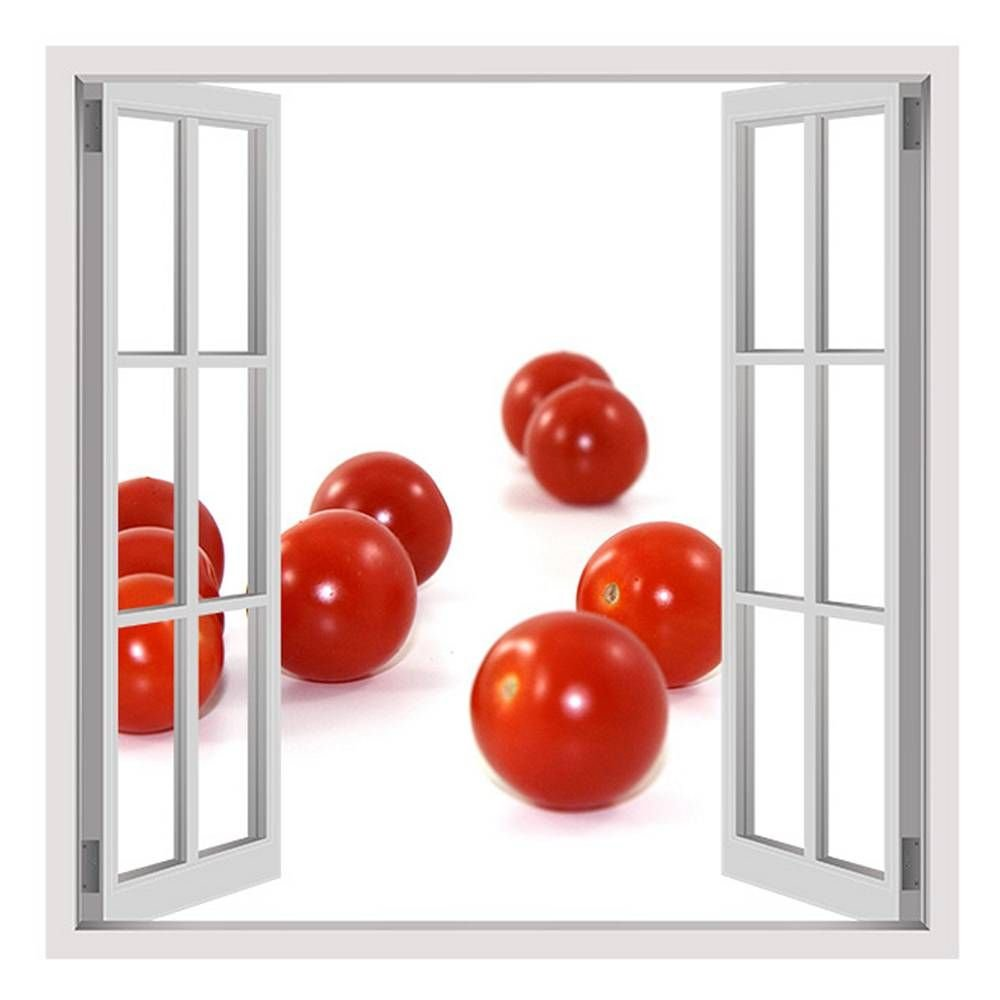 Alonline Art - Tomatos Vitamins Fake 3D Window Framed Stretched Canvas (100% Cotton) Gallery Wrapped - Ready to Hang | 32''x32'' - 81x81cm | for Bedroom Frame for Living Room Framed Paints Framed Art