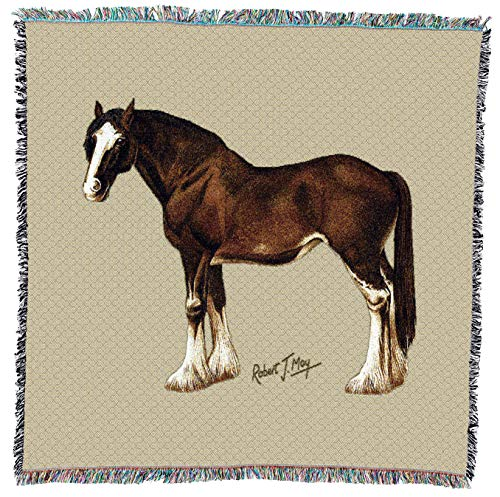 Pure Country Weavers | Clydesdale Horse Woven Throw Blanket with Fringe Cotton USA 54x54