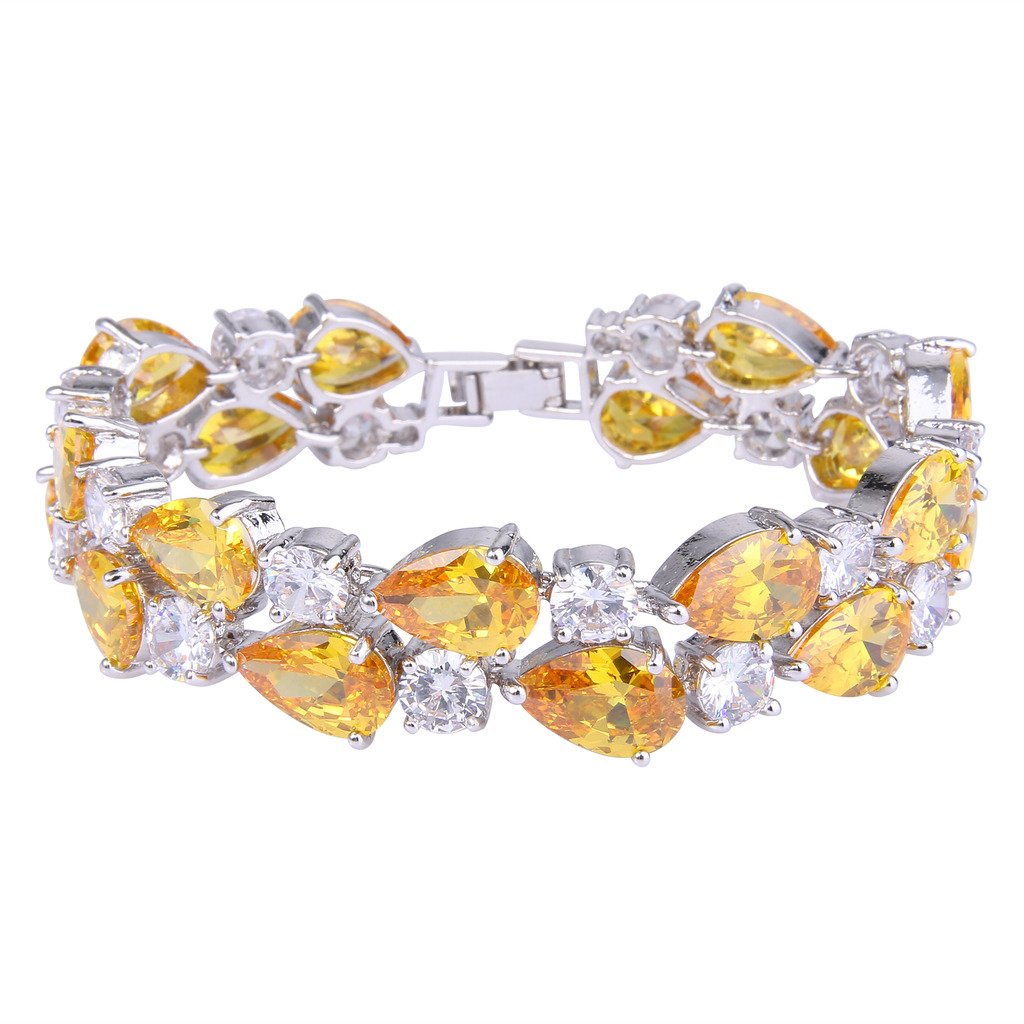 EVER FAITH Women's Prong Cubic Zirconia Vintage Style Dual Layer Tear Drop Bracelet Yellow Silver-Tone