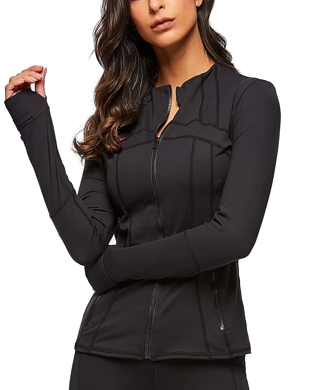 UDIY Women Long Sleeve Jacket, Running Yoga Workout Slim Sweatshirts with Two Side Pocket by UDIY