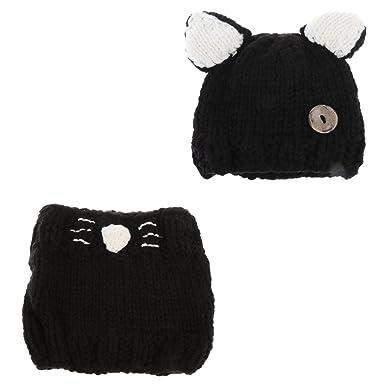 277082c502f MagiDeal New Kids Child Handmade Beanie Full Beard Mask Baby Knit Crochet  Hat Caps - Black