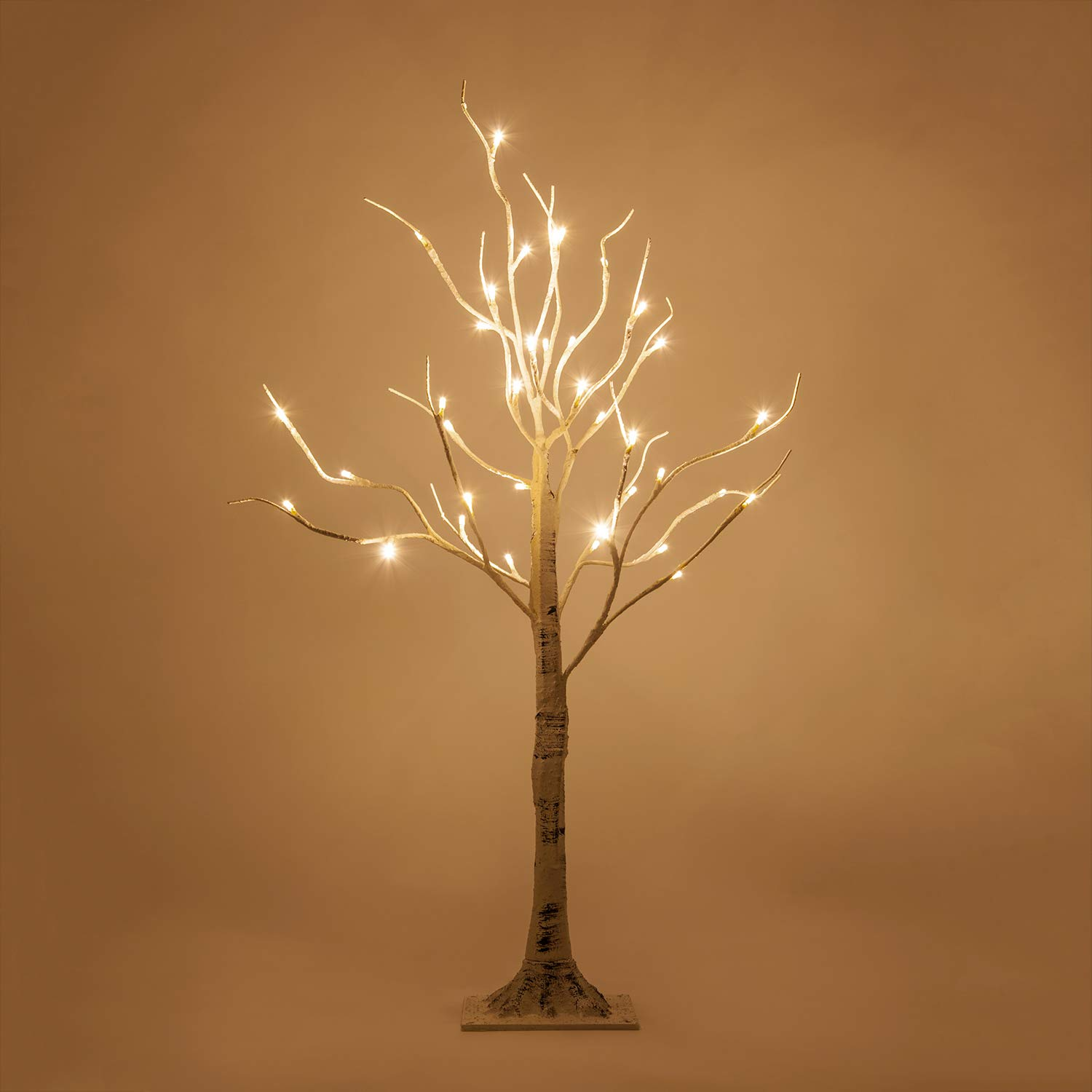 Kringle Traditions Warm White LED Birch Tree Lit Tree Décor – White Artificial Birch Tree (3 Ft, 36 Warm White LED Lights)