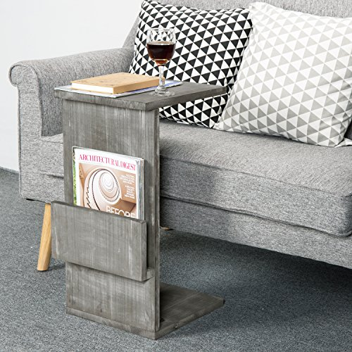 Gray Whitewashed Wood Sofa Side Table with Magazine Holder Rack, Under-the-Couch Sliding Tray by MyGift (Image #1)