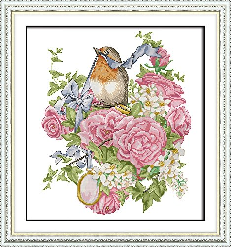 "ITSTITCH Needlecrafts Counted Cross Stitch Kits 14Count, Embroidery Kits, Cross Stitch Pattern For Lovely Birds and Flowers ""16.1 x 17.3""inch, Wedding Anniversary - Beautiful Bird Counted Cross Stitch"