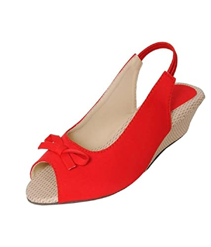 57d5622a27e06 ALPHASTAR Women's Red Wedges Heels: Buy Online at Low Prices in ...