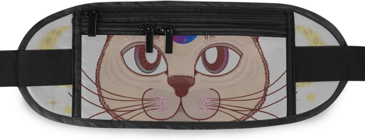 Cat Moon Stars Magical Fairy Running Lumbar Pack For Travel Outdoor Sports Walking Travel Waist Pack,travel Pocket With Adjustable Belt