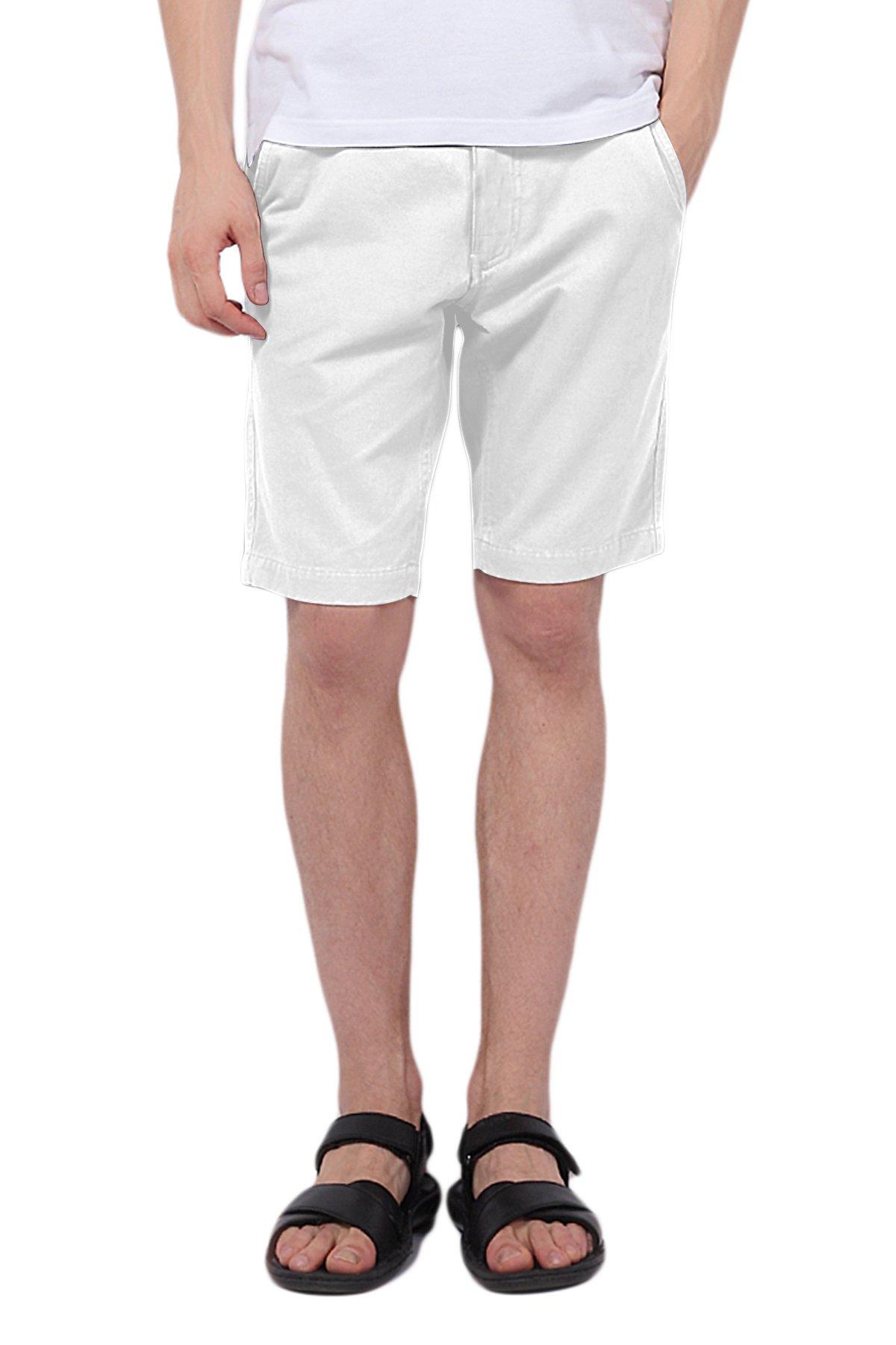 Pau1Hami1ton PH-01 Men's Chino Casual Shorts Slim Fit(34 White)