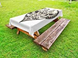 Ambesonne Day of The Dead Outdoor Tablecloth, Twin Half Fire Design in Heart Shapes Festive Spanish Image Print, Decorative Washable Picnic Table Cloth, 58 X 84 inches, Cream and Black