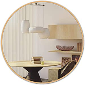 LOIGYUR Wall Round Mirror 36 Inch Gold Metal Frame Circle Mirror for Shower, Bathroom or Living Room