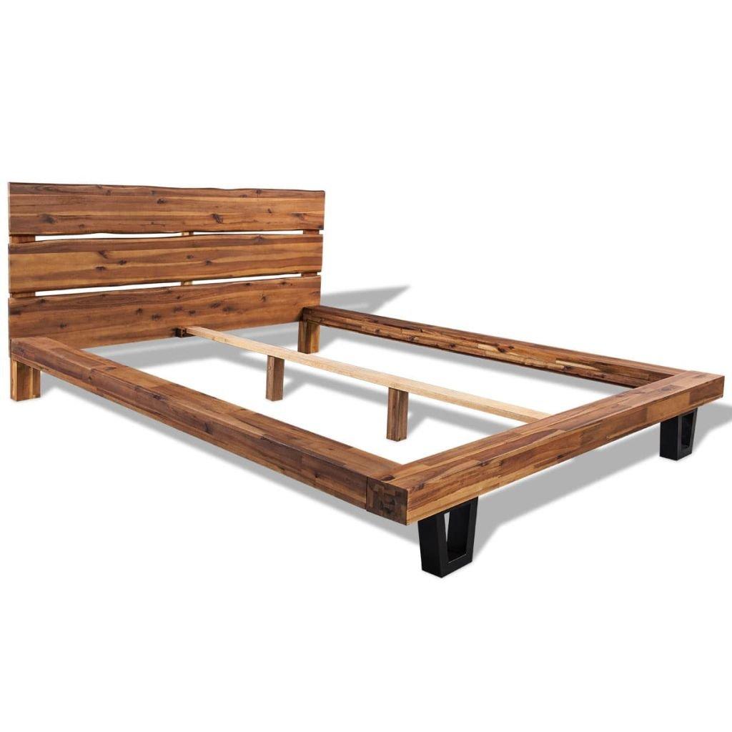 vidaXL Estructura de cama madera acacia maciza 180x200 cm: Amazon.es ...